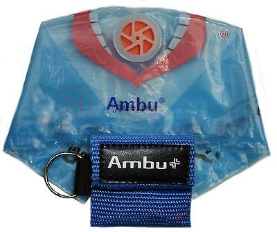 (25 lot BLUE Ambu Res-Cue Key MINI CPR Keychain Masks / Face Shield Barrier Kits)