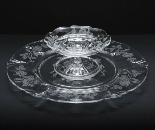 2 Piece Set - HEISEY Crystal HEISEY ROSE Cheese and Cracker Plate w/Cheese Stand