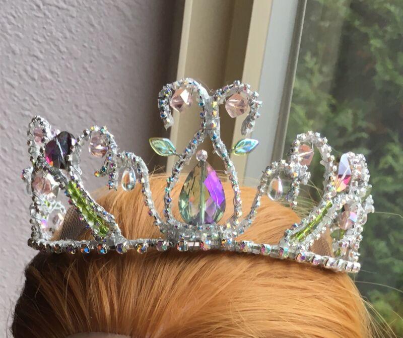 Professional Ballet Tiara Headpiece Silver AB Crystal Crown Dew Drop Fairy YAGP