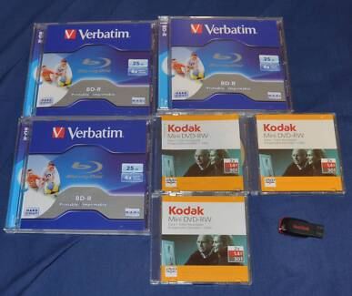 Bluray-3-discs-25GB-3-Kodak-Mini-DVD-RW-1-4GB + Flash Drive