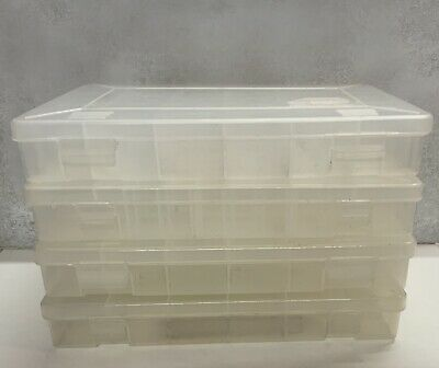 """Lot of (4) Used Plano Tackle Boxes 11"""" x 7"""" Clear Plastic"""