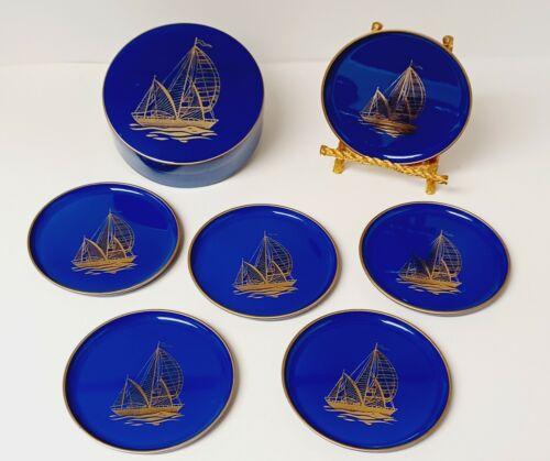 Vintage Boxed Set of 6 Otagiri Coasters. Lovely Cobalt Blue & Gold Sailboats!