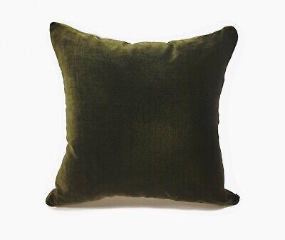 Silk Velvet Pillow Cover in IRIDESCENT GOLDEN GREEN Handmade
