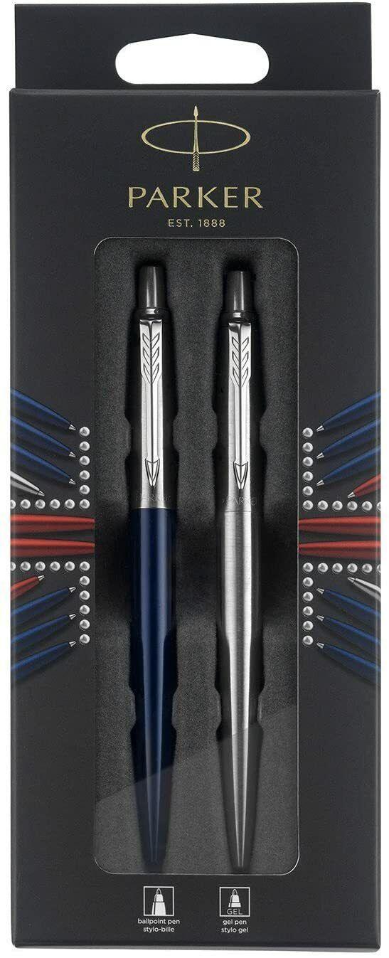 Parker Jotter London Ballpoint Pens, 2 Pack, Stainless Steel & Blue, France Made Ballpoint Pens