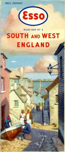 1949 Esso Road Map: South and West England NOS