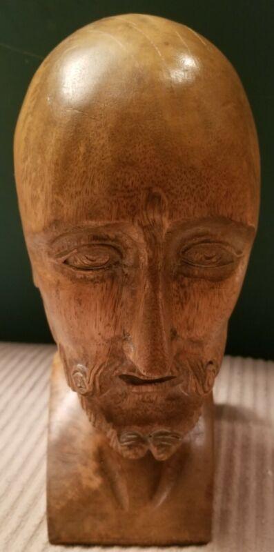 Vintage Mid-Century Spanish Solid Wood Head Carving