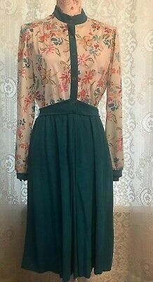 Vintage Starshine Floral Print Bodice Solid Skirt Elegant Flare Fit Dress Sm Bodice Print Skirt