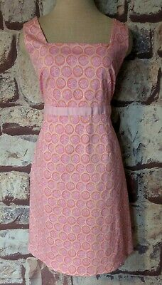 FRESH PRODUCE PINK SLEEVELESS EMPIRE WAIST DRESS FRUIT SLICES SIZE 10 FREE SHIP