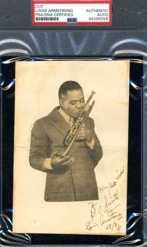 Louis Armstrong PSA DNA Coa Signed Album Page Page Autograph
