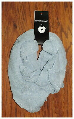 NEW Women's Light Blue Silver Metallic Acrylic Thin Knit Infinity Scarf NWT