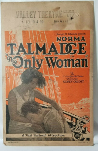 """The Only Woman NORMA TALMADGE - Vintage Silent Movie Poster 14x22"""""""