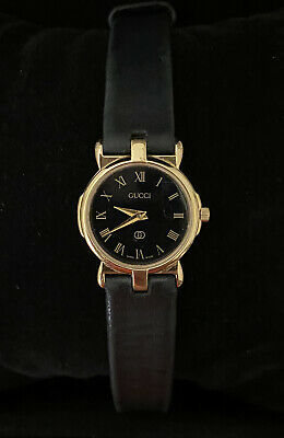 Vintage Gucci 3400L 18k Gold Plated Women's Watch with Leather Band