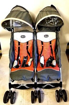 Chicco C5 Umbrella Side by Side Stroller Ultra Lightweight Orange & Gray USED