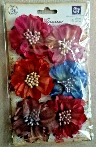 Prima Flowers 6 Pc Jewel Colors, Fuscia, Blue, Maroon fabric embellishments. NEW