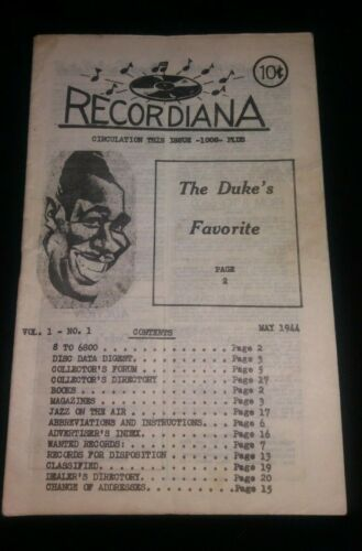 Vintage RECORDIANA Jazz Magazine May 1944 Ultra rare Duke Ellington Vol 1 No 1