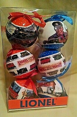 LIONEL TRAIN ORNAMENT SET 6 NEW LARGE ORANGE BLUE BOWS CHRISTMAS 9-21026 BALL.