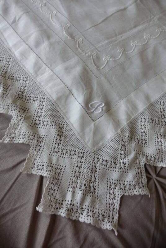 Antique good white Irish linen tablecloth - embroidery & crochet lace monogram B