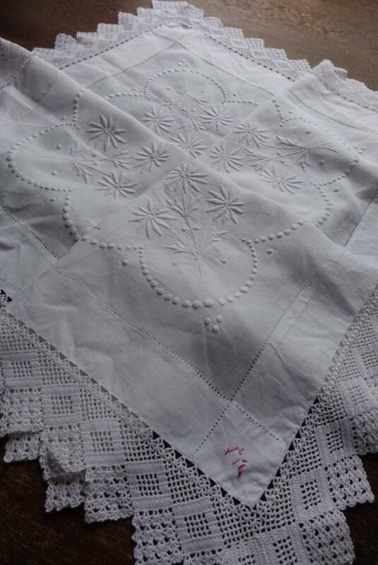 Antique good white Irish linen tablecloth with crochet lace & hand embroidery