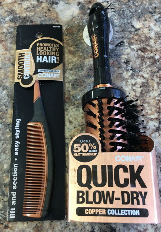 Conair Smooth Control Cooper Collection ~1 Hair Comb & 1 Quick Blow Dry Brush