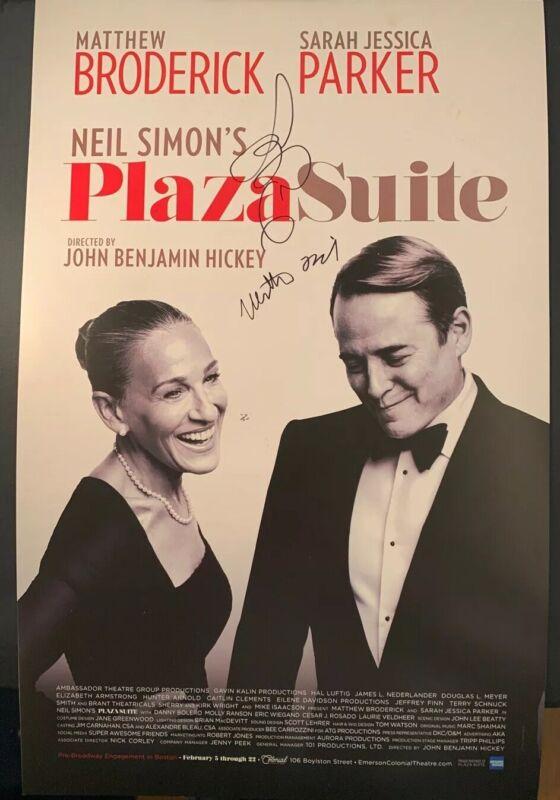 Sarah Jessica Parker & Matthew Broderick Signed Plaza Suite Poster COA Autograph