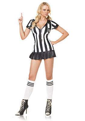 Sexy Referee Costume Zipper Front Leg Avenue Referee Dress Role Play 83067 (Leg Avenue Referee Costume)