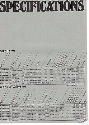 Panasonic Entertainment Range Specifications Brochure / Leaflet  3200F