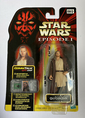"QUI-GON JINN Star Wars Episode 1 3.75"" Carded Action Figure Comm Talk Chip 1999"