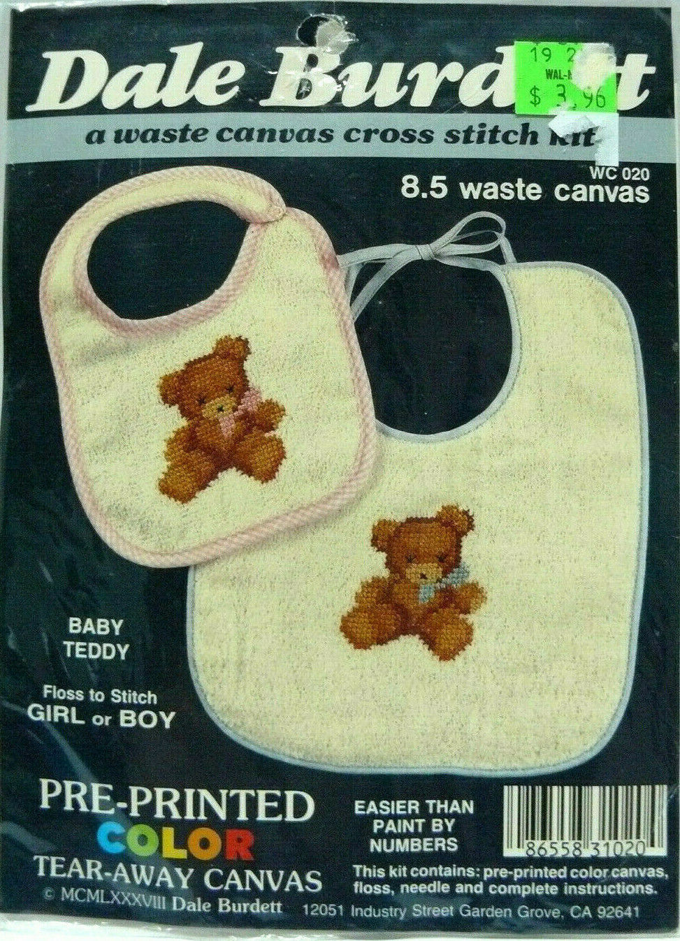 waste canvas cross stitch kit baby teddy