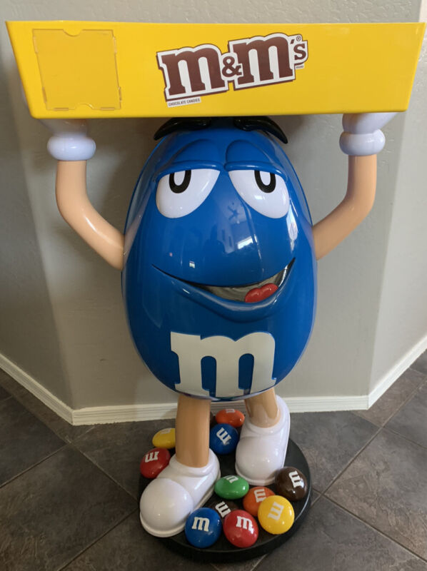Rare Blue M&M Character Candy Store Display With Storage Tray