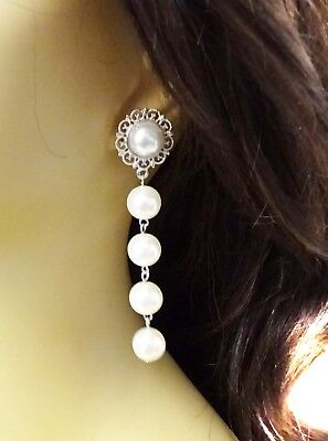 PEARL DANGLING EARRINGS FAUX PEARL DROP GOLD OR SILVER TONE 3 INCH LONG PIERCED