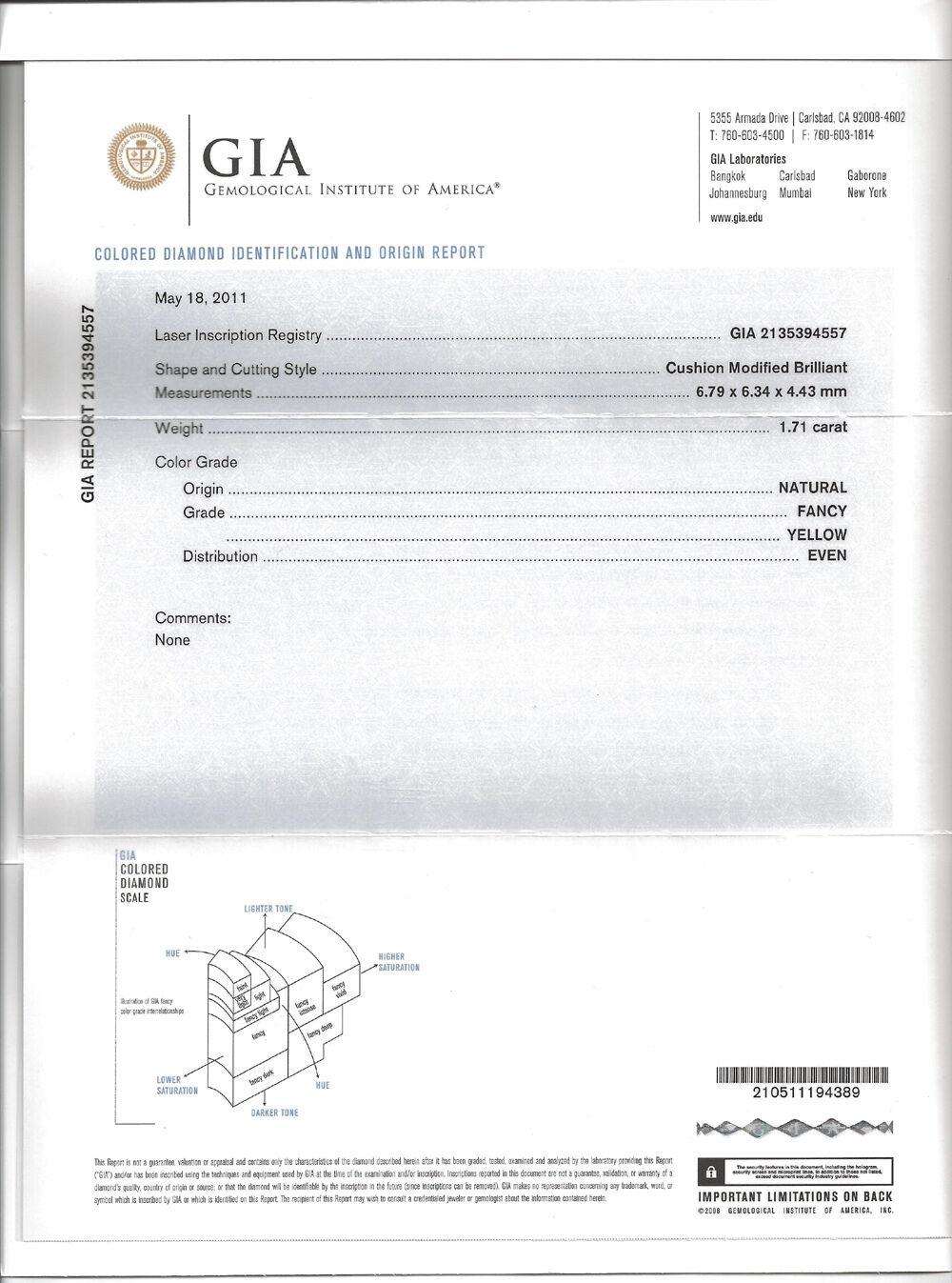 2.81 ct. Cushion Cut Fancy Yellow Split Shank Halo Diamond Engagement Ring GIA 1