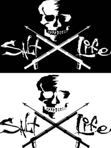 New SALT LIFE Logo SKULL & SPEARS Car Window Decal Beach Sticker UV Vinyl