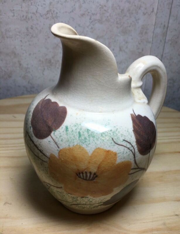 Vintage Pottery Pitcher Ivory with Gold Flowers Brown Leaves Green Splatter