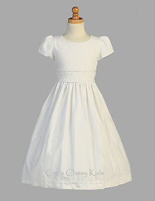 Flower Girls White First Communion Dress Smocked Cotton Wedding Easter Party - Cotton First Communion Dress