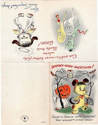 1940's HALLOWEEN GREETING CARD, VOLLAND Co, MADE IN U.S.A. SPOOKY-OOKY GREETINGS - Spooky Halloween Greetings
