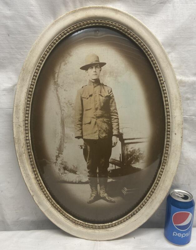 Vtg Antique WW1 American USA Soldier Frame Convex Glass Sepia Portrait Picture