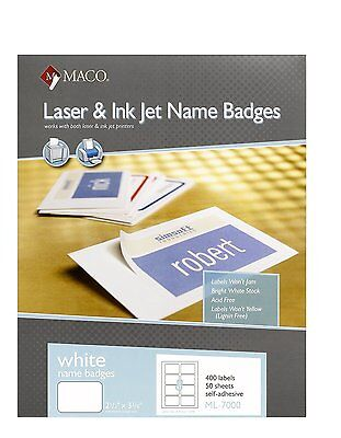 Inkjet Name Badge Labels (Maco Ml-7000 Self-adhesive Laser/inkjet Name Badge Labels - 2.33