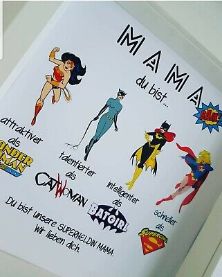 henke Frau Mama Muttertag Superhelden Bilderrahmen (Personalisierte Mutter Tag Geschenke)