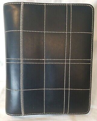 Black Leather Organizer Planner Tan Stitching 10 X 8 With 7 Rings Zip Around