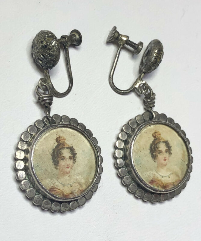 Rare Antique Sterling Silver Bezel Set Glass Portrait Dangle Earrings