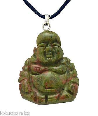 Carved Stone Pendant (Budai Buddha Green Unakite Gemstone Pendant Hand Carved Stone)