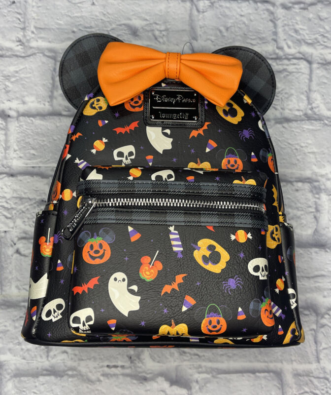 2021 Disney Parks Loungefly Minnie Mouse Halloween Mini Backpack AOP New