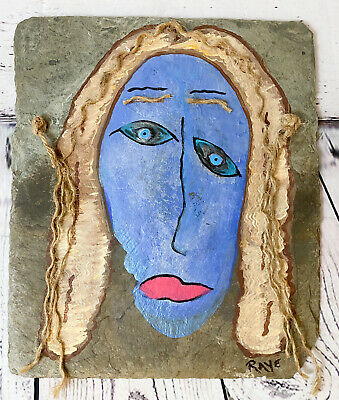 Blue Painted Face On New Orleans Slate Mixed Media Original Art Wall Hanging