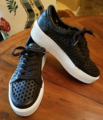 Musse   Cloud Womens Sneakers Platform Creepers Casey Black Leather Sz 8 New
