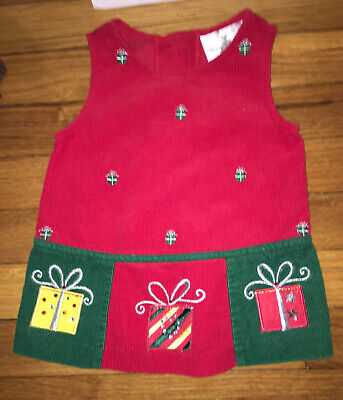 Rare Editions girls 3-6 Months Red corduroy holiday christmas jumper dress