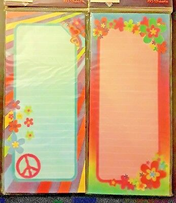 "Peace & Flowers Magnetic List Pads (Set of 2) Ruled 9"" x 4"" New! Grocery List"
