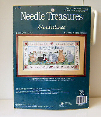 Needle Treasures Bordelines Bless Our Family Counted Cross Stitch Kit - New - $15.99