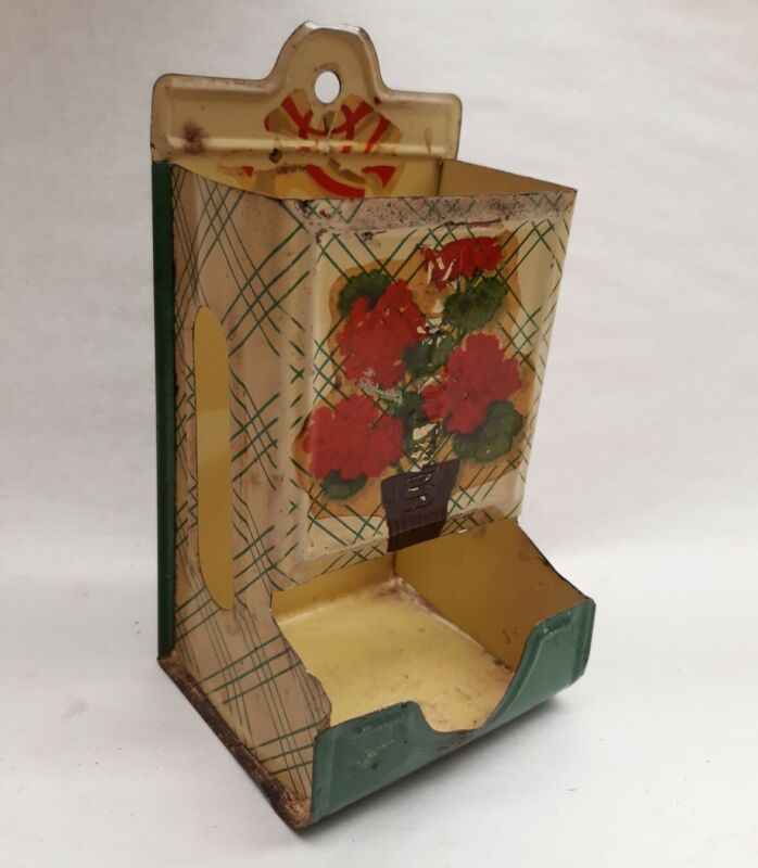 Vintage Wall Mount Tin Metal Match Safe Floral Design Yellow and Green