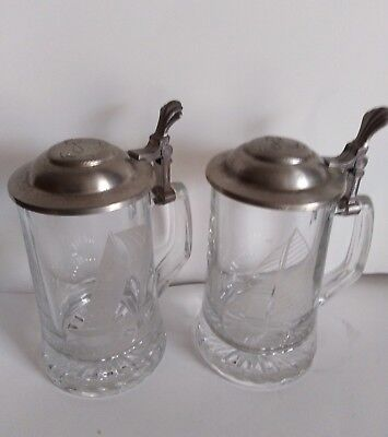2 ALWE Old Spice 12 M racing slope glass pewter lid beer stein West Germany 2 Old Germany Stein
