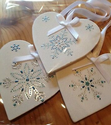 3 X Handmade Shabby Chic Christmas Decorations Frozen Snowflakes Silver Blue - Blue Snowflakes Decorations